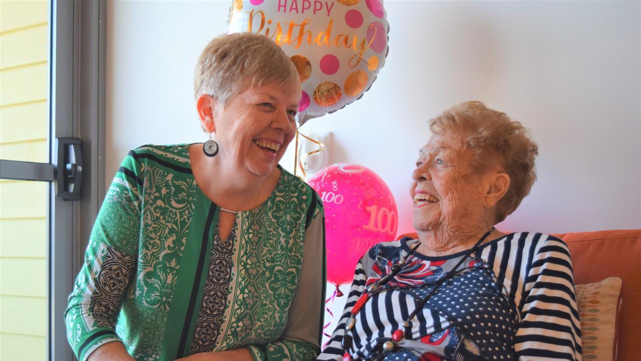 Beryl Carter celebrates her 100th birthday alongside daughter Jan Miller. Picture: Heidi Petith