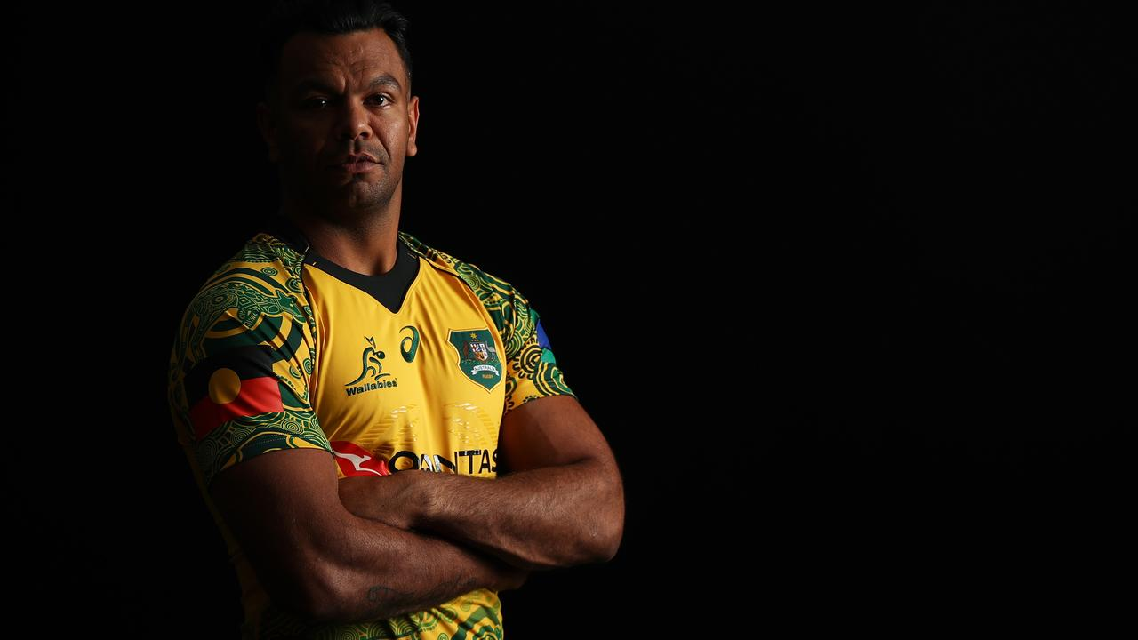 Kurtley Beale in the Wallabies indigenous jersey. Picture: Brendon Thorne/Getty