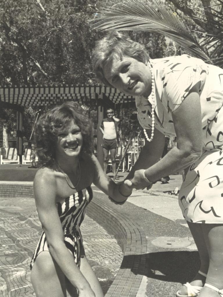 Great Keppel Island circa 1994 Tracey Wickham and Flo Bjelke-Petersen.