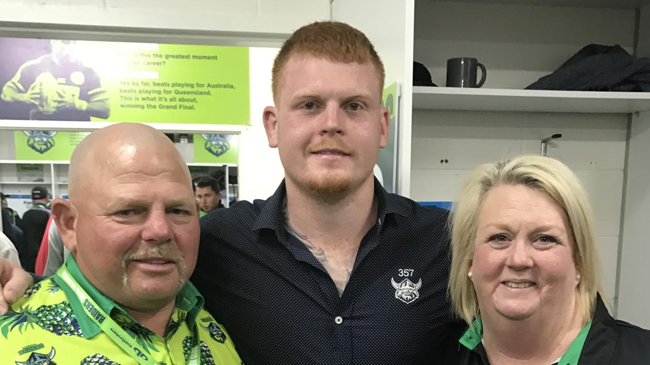 Canberra Raiders player Corey Horsburgh, father Rick and mother Sandra.
