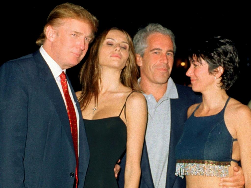 Donald Trump and his then girlfriend Melania Knauss, Jeffrey Epstein, and British socialite Ghislaine Maxwell at the Mar-a-Lago club, Palm Beach, Florida, February 12, 2000. Picture: Davidoff Studios/Getty Images