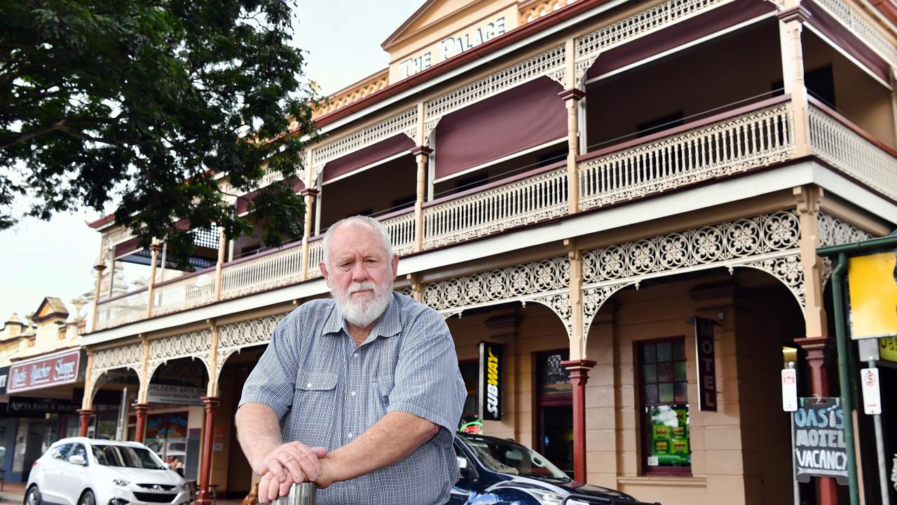 20th anniversary of The Palace backpackers hostel fire in Childers - Bundaberg councillor and former mayor of Childers, Bill Trevor, out the front of the rebuilt Palace.Photo: Alistair Brightman