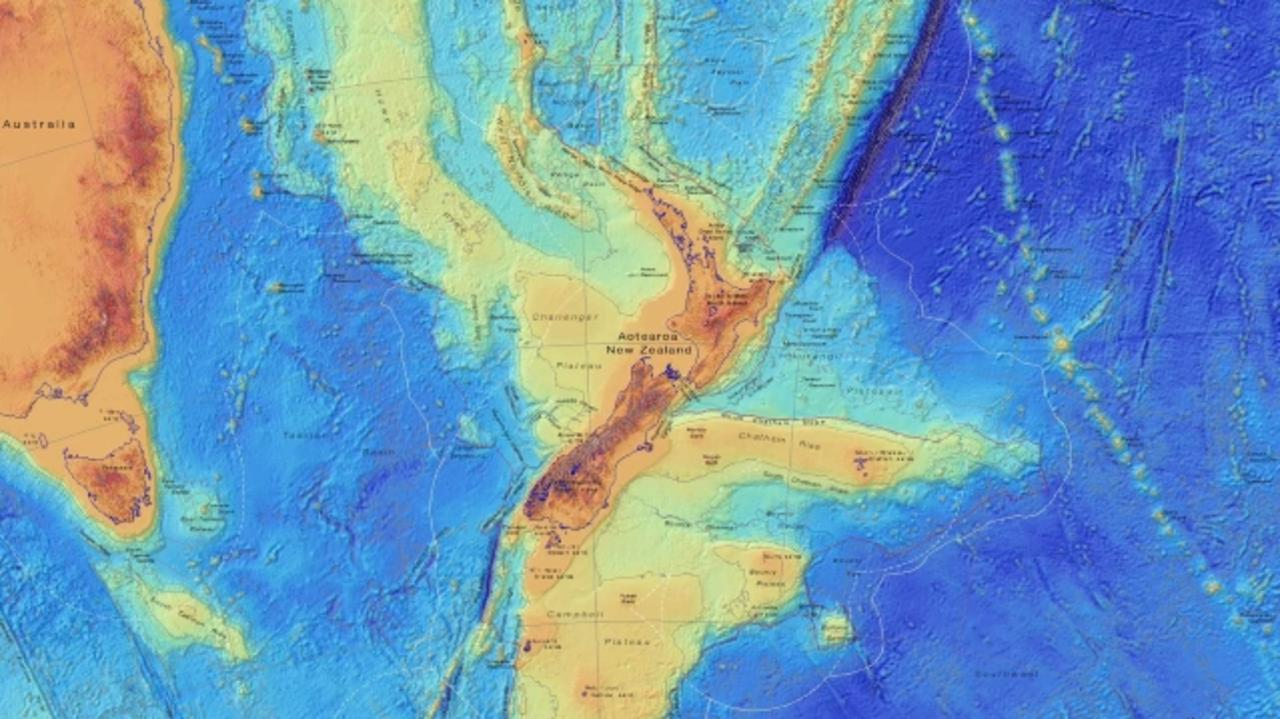 An image of the ocean floor around New Zealand showing the submerged continent of Zealandia which is a lighter shade. Picture: GNS science.
