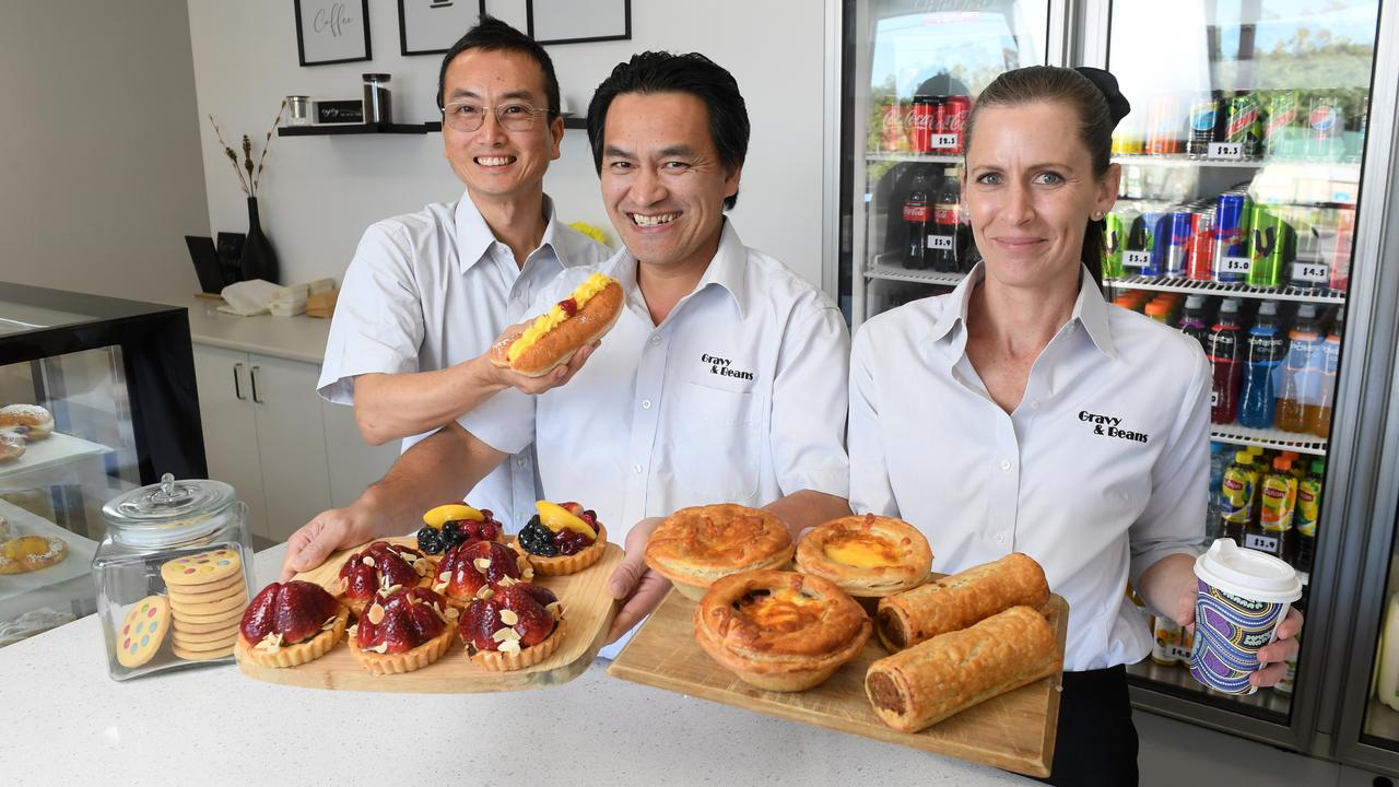 Gravy & Beans has opened next door to Charlie de Cod at West Ipswich. Baker and secret weapon Tony Lee, owner Ian Thai and barista Amy Lubke.