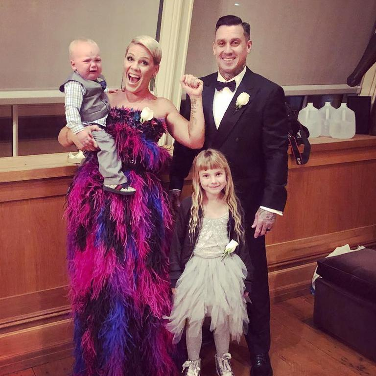 Family portrait: Pink and fam before a Grammys night.