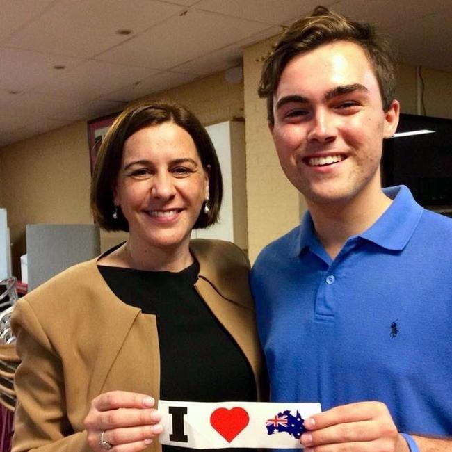Queensland LNP Leader Deb Frecklington with then-Gold Coast Young LNP chair Barclay McGain. Picture: Supplied