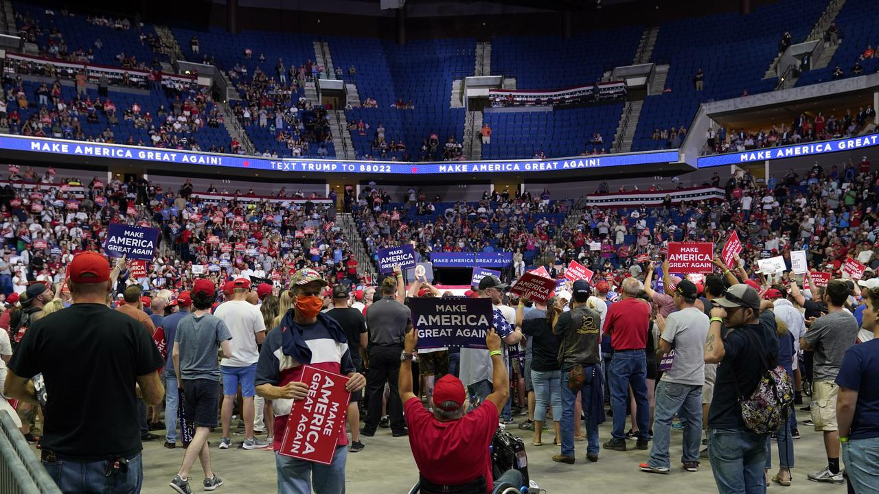 There were just over 6000 people at the rally. Picture: Evan Vucci/AP