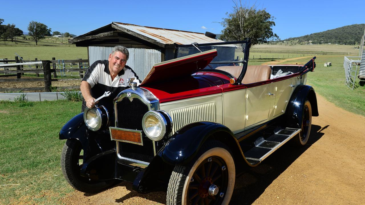 Somerset Regional Council Mayor Graeme Lehmann with his beautifully restored 1926 Buick that is part of his car collection.