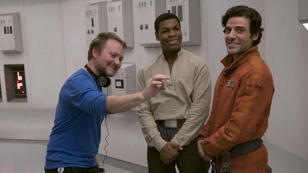 Star Wars director Rian Johnson with John Boyega (middle) and Oscar Isaac (at right). Photo: David James