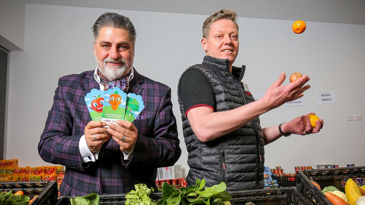 Matt Preston with Coles Chief Operating Officer Matt Swindells at the 2020 Coles Winter Appeal launch.