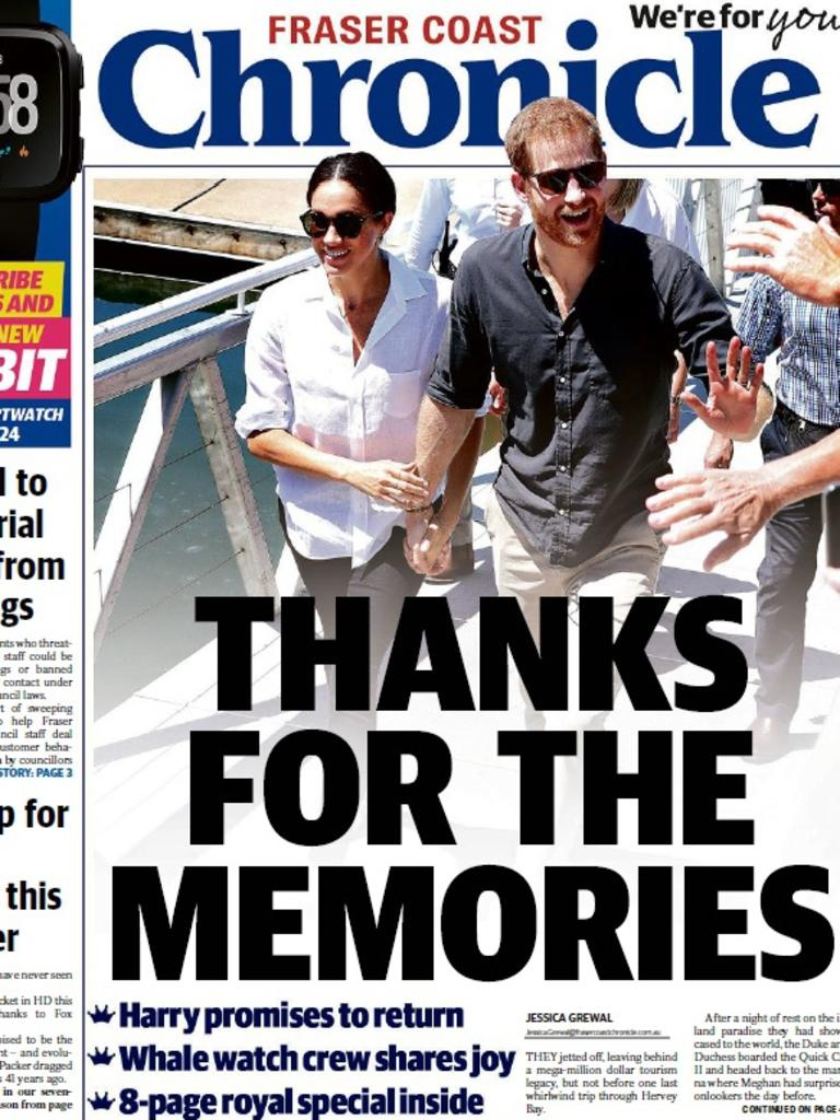 Front page of the Fraser Coast Chronicle, October 24 2018.