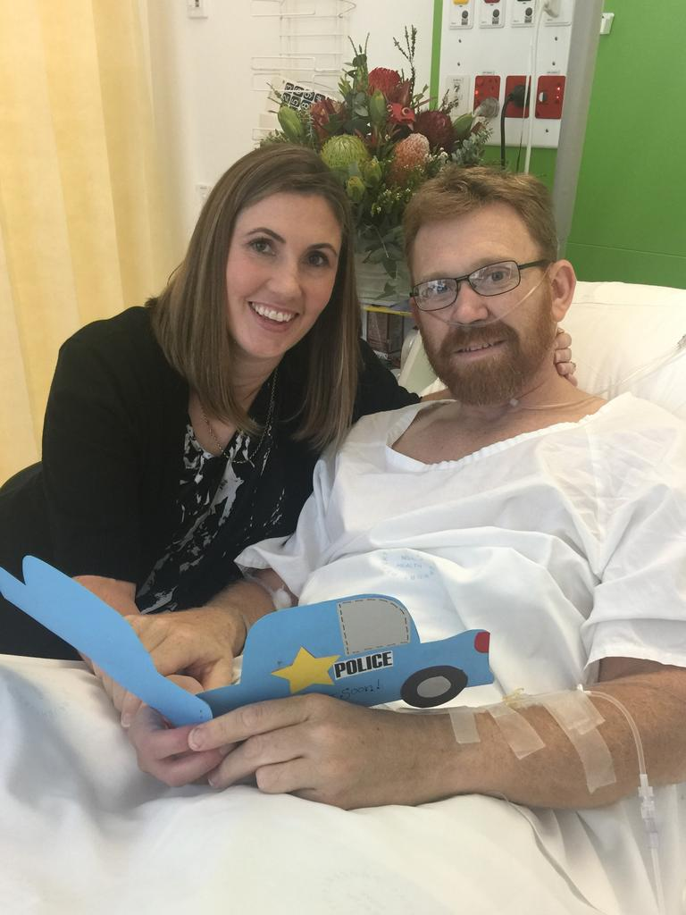 Luke Warburton with his wife Sandra. he spent five weeks in hospital. Picture: NSW Police Media