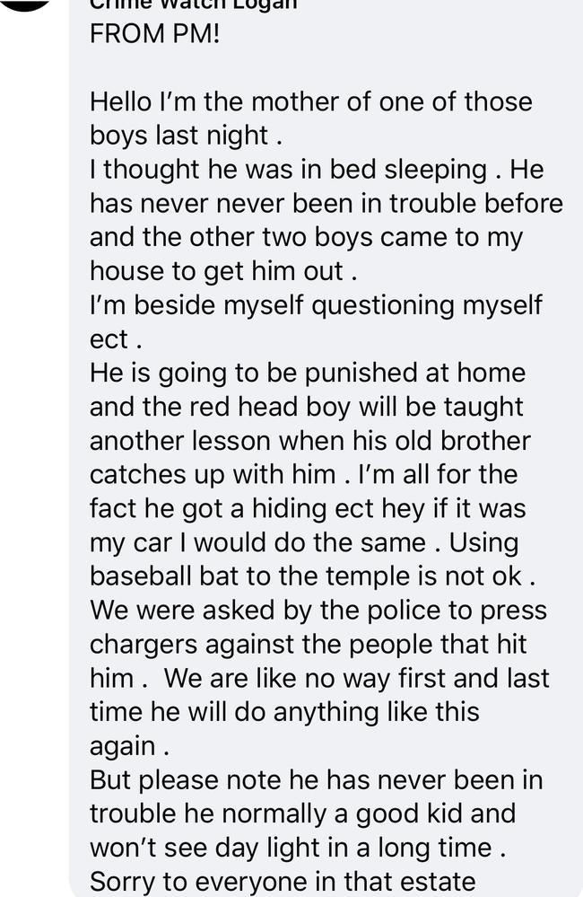 The mother's response to her son's beating. Picture: Crime Watch Logan