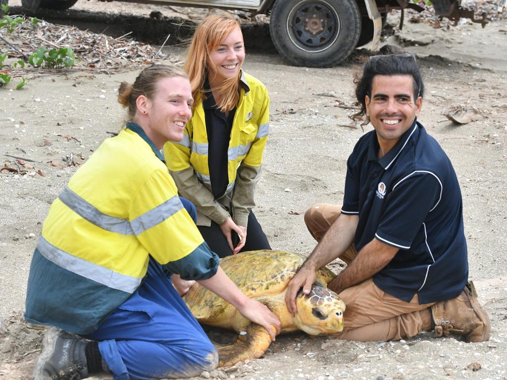 Jake Haber, Kirsten Smith and Matt Lynn with Poly the loggerhead turtle on Quoin Island on October 16. Photo: Liana Walker