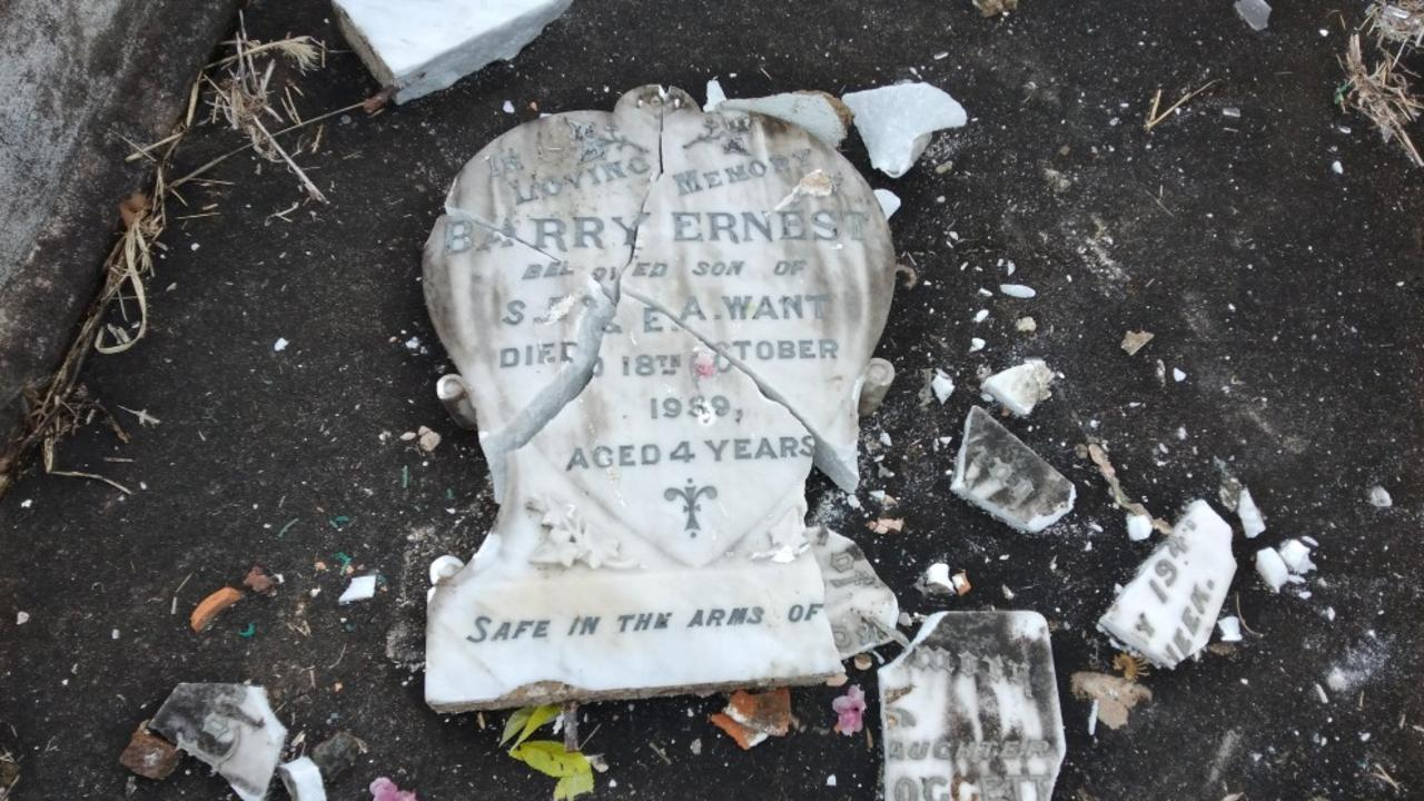 The headstone of Barry Want after vandals picked it up and smashed it at Grafton cemetary last week.