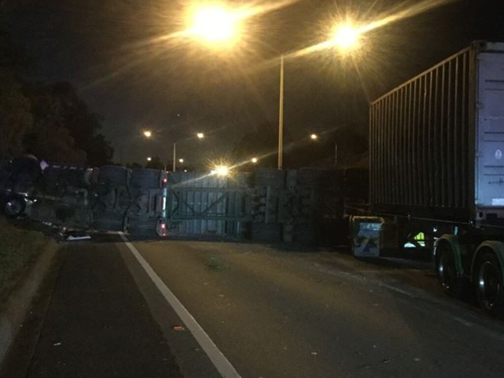 A truck has rolled on the Warrego Highway. Photo: Queensland Police Service