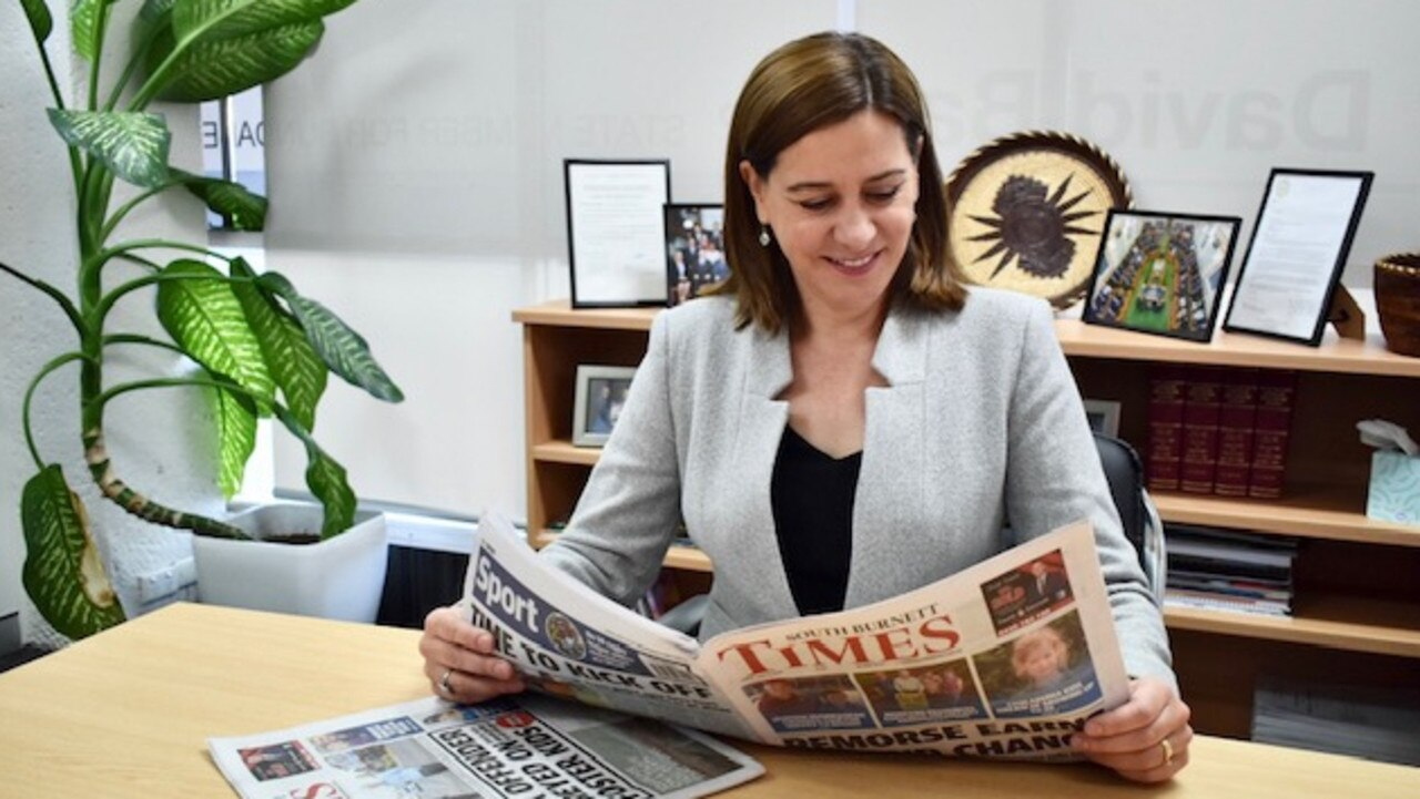 STAY INFORMED: Member for Nanango Deb Frecklington browses through a copy of the South Burnett Times to catch up on all the local news from across the region. Photo: Laura Blackmore