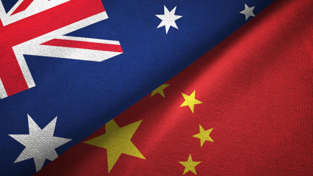 China and Australia two flags together realations textile cloth fabric texture