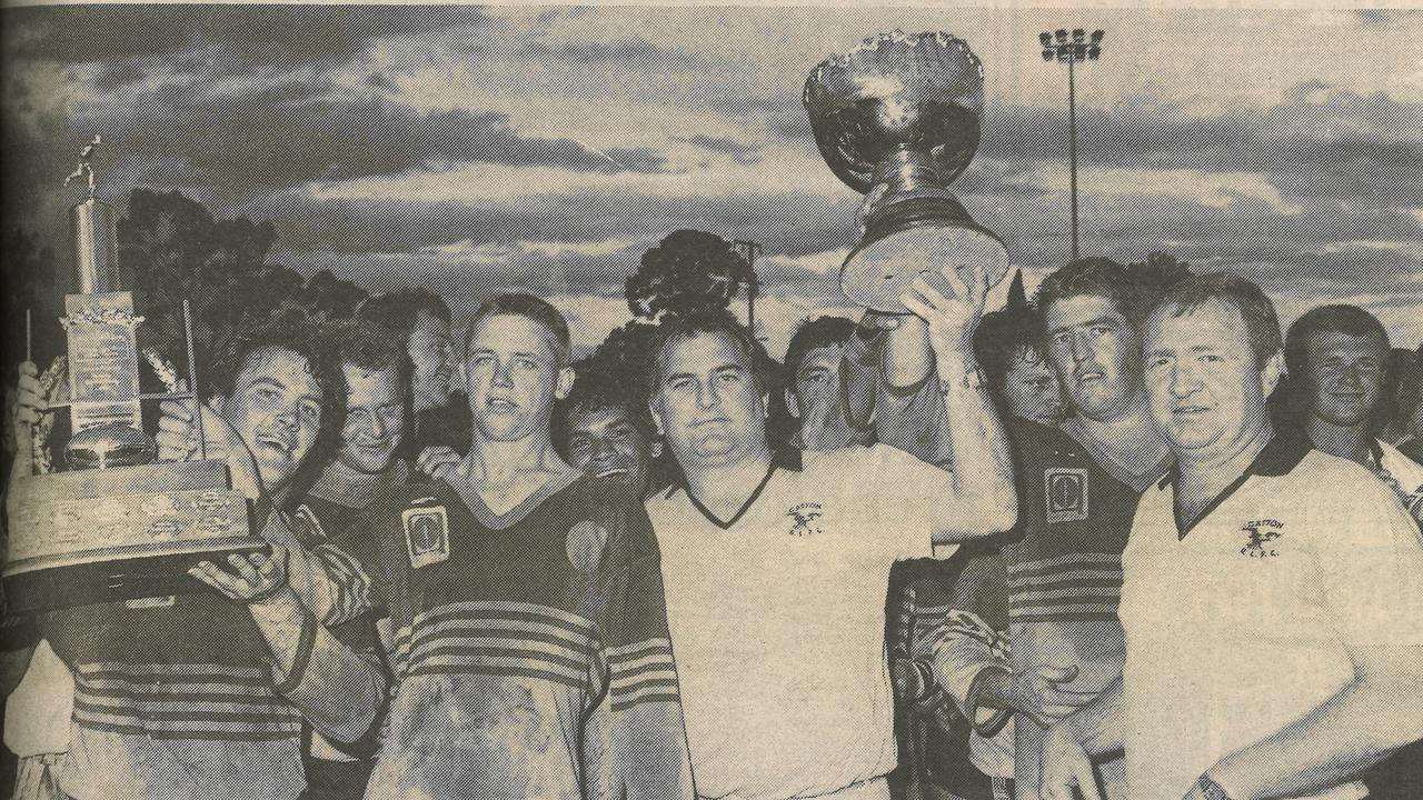 The Gatton Hawks 1989 premiership-winning team, after defeating the All Whites 30-18 to claim the Toowoomba Rugby League title.