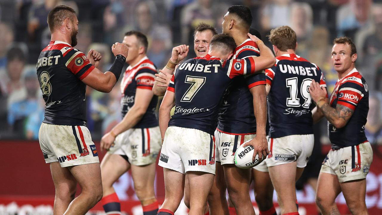 TRY TIME: Josh Morris of the Roosters celebrates after setting up Daniel Tupou to score for the Roosters in their win overthe Parramatta Eels last weekend. Picture: Photo by Mark Kolbe/Getty Images)