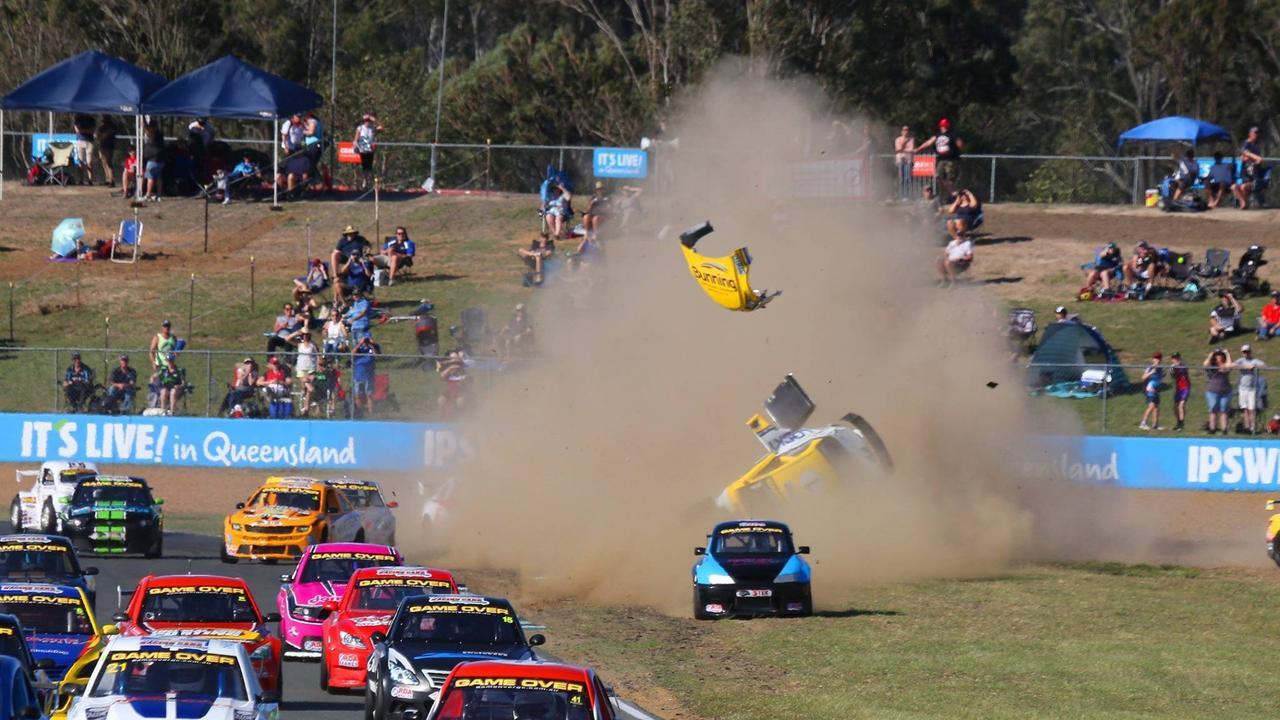 DEVASTATING: Brendon Pingel's terrifying rollover in the Aussie Racing Cars at Queensland Raceway.