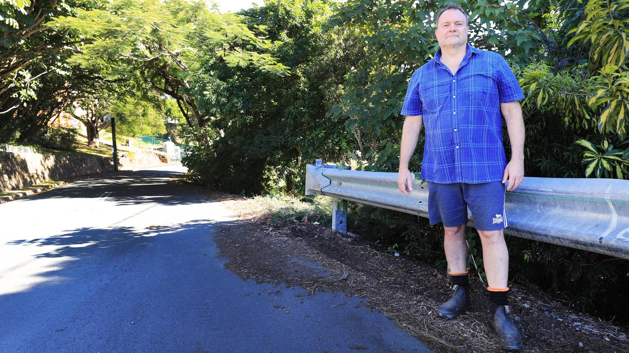 Local resident Andrew Sims at the scene of Monday night's fatal car crash on Ewing St, Murwillumbah. Photo: Scott Powick