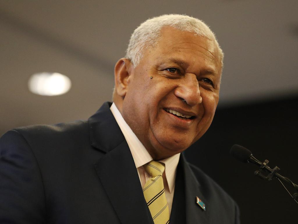 17/10/2019: Fiji PM Frank Bainimarama speaks at an Australia Fiji Business Forum, at a hotel in Brisbane. Lyndon Mechielsen/The Australian