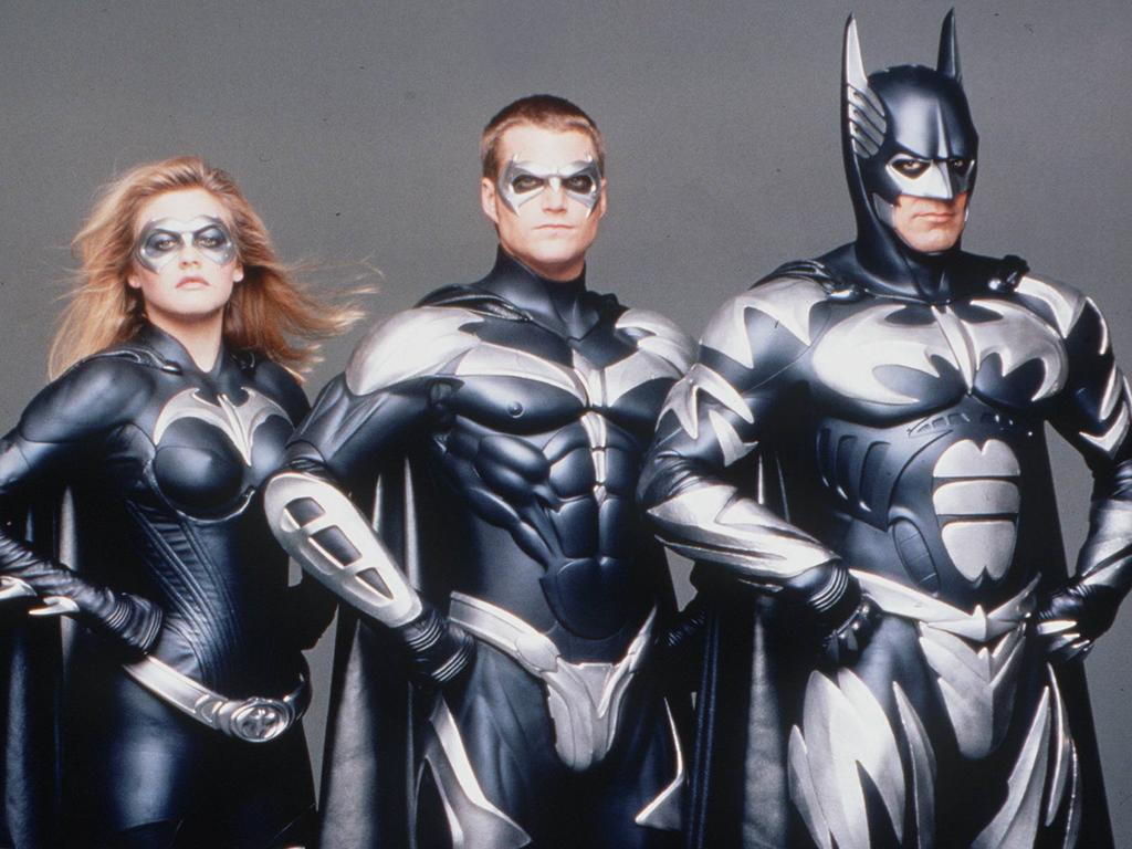 1997's Batman, Robin and Batgirl. Film. George Clooney, Chris O'Donnell and Alicia Silverstone. Picture: Supplied