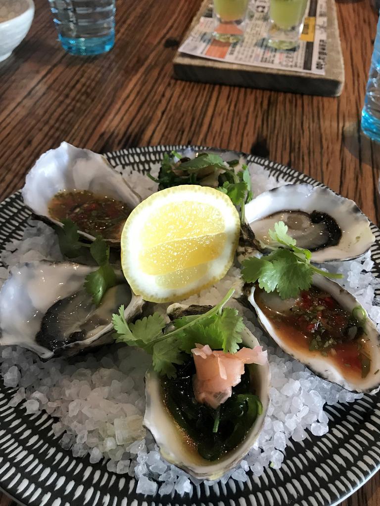Oysters three ways at Mudbar Restaurant in Launceston.