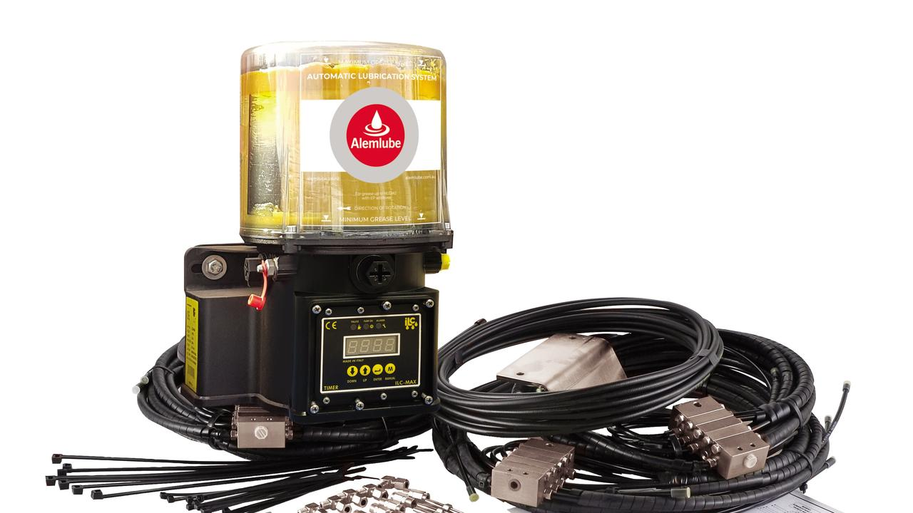 The full on-board unit holds four kilograms of grease, which is dispensed to critical areas by either a 12-volt or 24-volt DC pump.