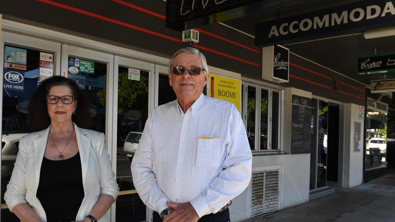REVAMP: Robert McLennan with sister Beth Hetherington outside the front of the Tatts Hotel in Lismore.