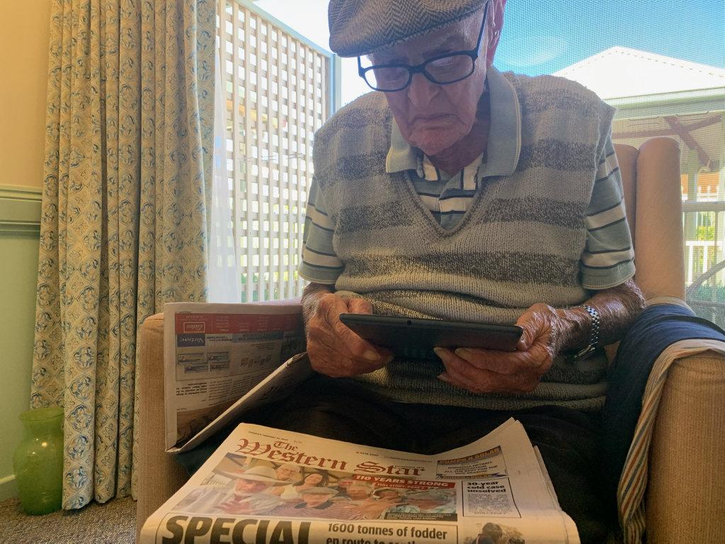 Dexter Kruger celebrates the Western Star's digital future. | Buy Photos Online | Observer