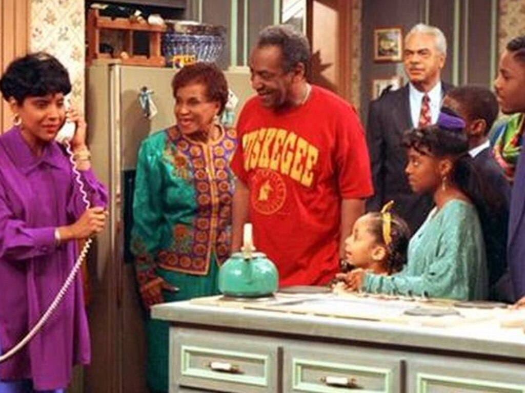 Bill Cosby, as Dr Cliff Huxtable with his TV family in The Cosby Show. Picture AP