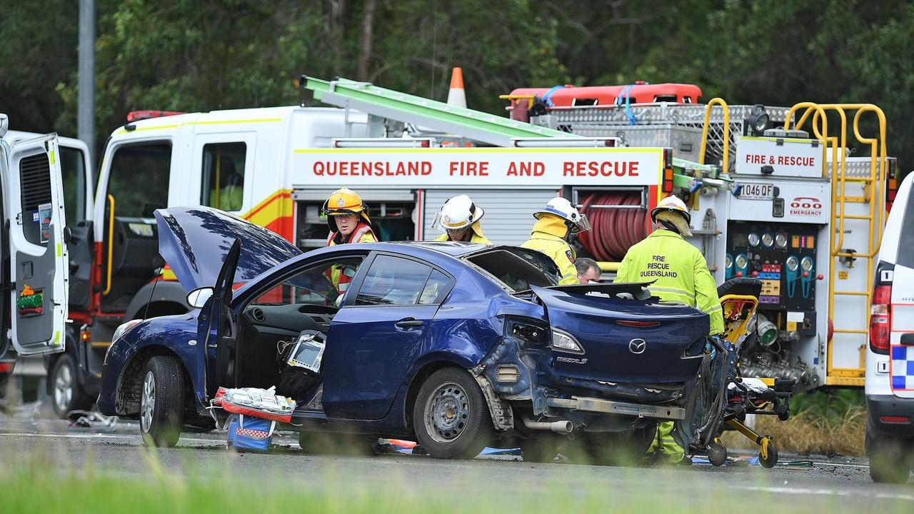 Accident corner of Bruce highway and Wide Bay highway.A WOMAN, 89, has been transported to Sunshine Coast University Hospital in an induced coma, after being cut from a crashed vehicle at Bells Bridge this morning.