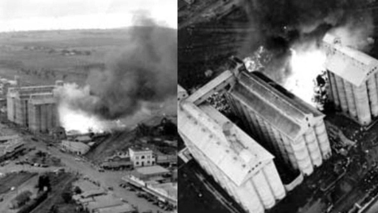 Photos from the 1951 Kingaroy peanut silo fires. Source: PCA.