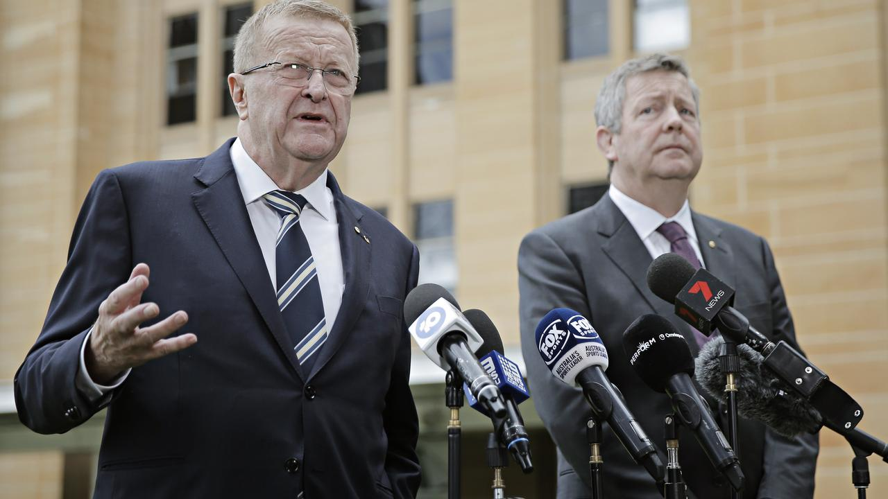 (LR) Olympic Committee president John Coates and Chief Executive Matt Carroll speaking to the media at Circular Quay on the 9th May 2020. Photographer: Adam Yip