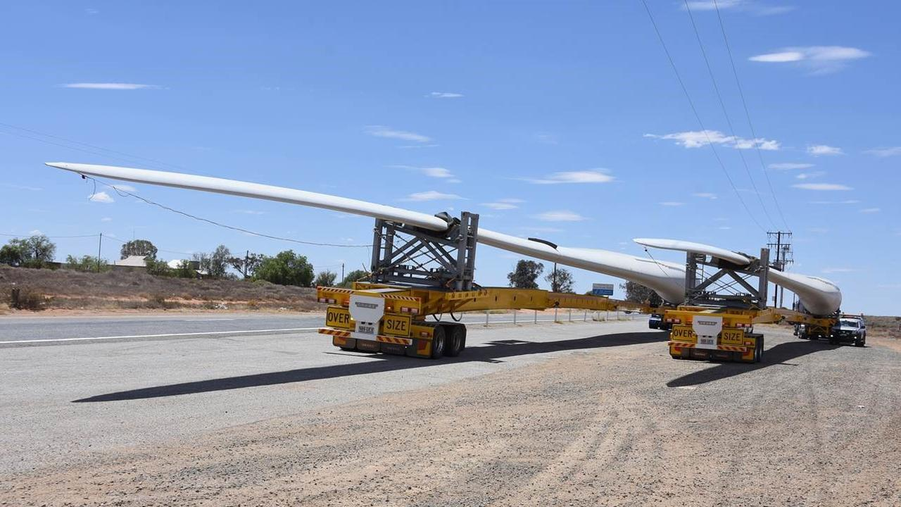 Wind turbines blades being transported around the country.