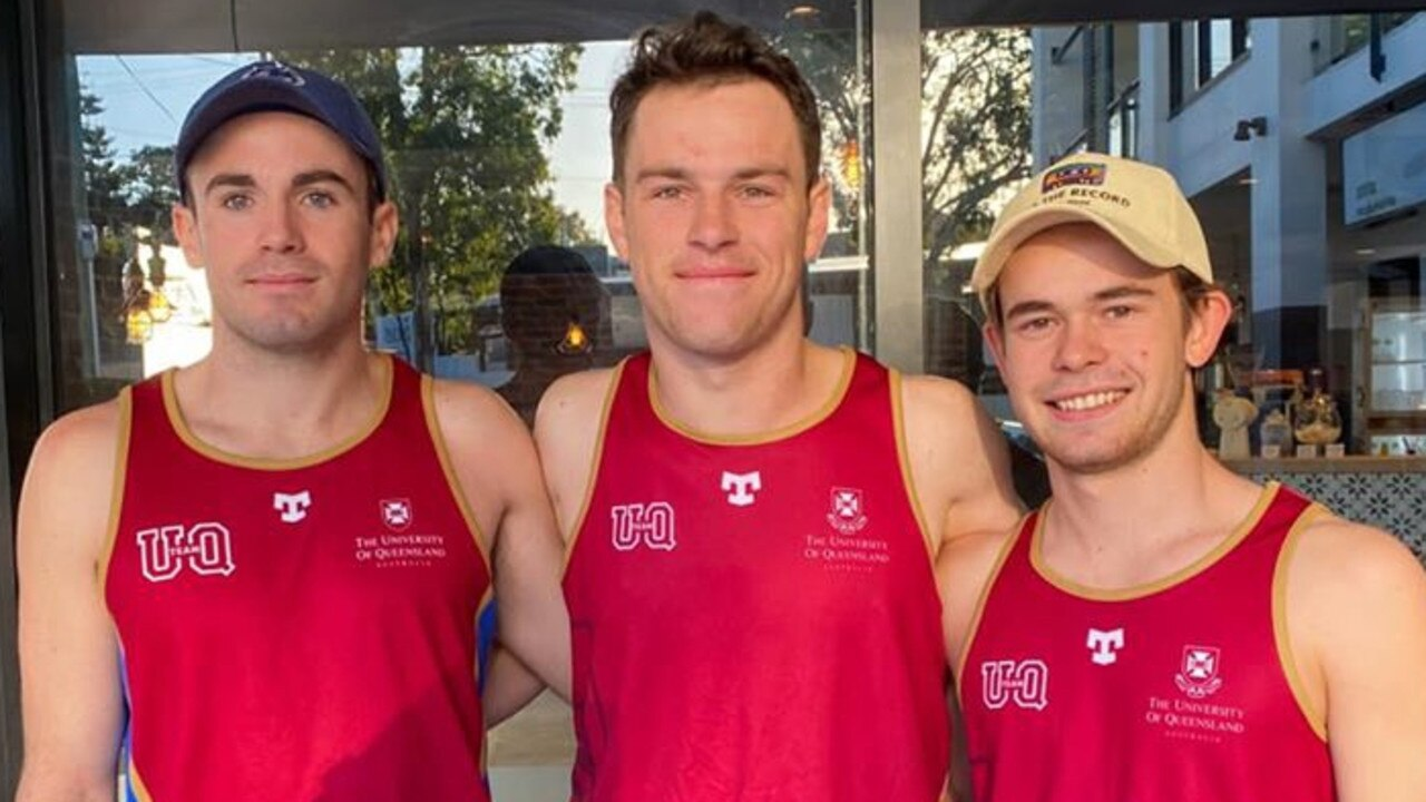 GEARING UP: University of Queensland students (from left) William O'Mealley, Luke Bellamy and Central Queenslander Gerard Moriarty will run 5km every four hours for 48 hours to raise money for LIVIN. Picture: Contributed