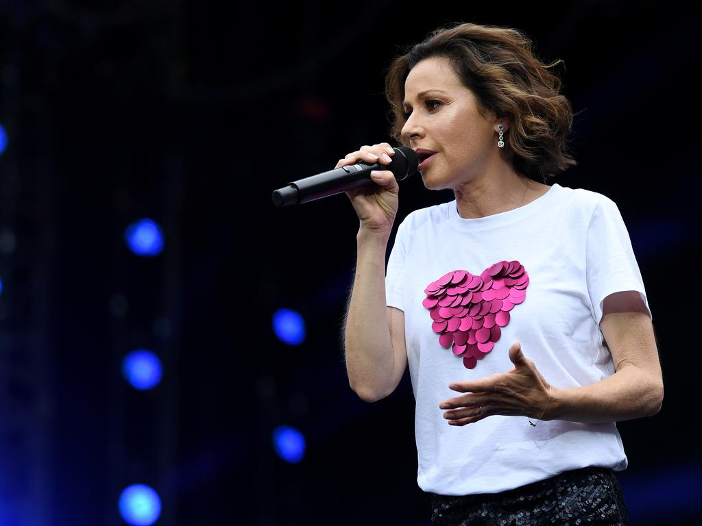 Tina Arena performs during the Fire Fight Australia bushfire relief concert at ANZ Stadium in Sydney in February. February: Joel Carrett