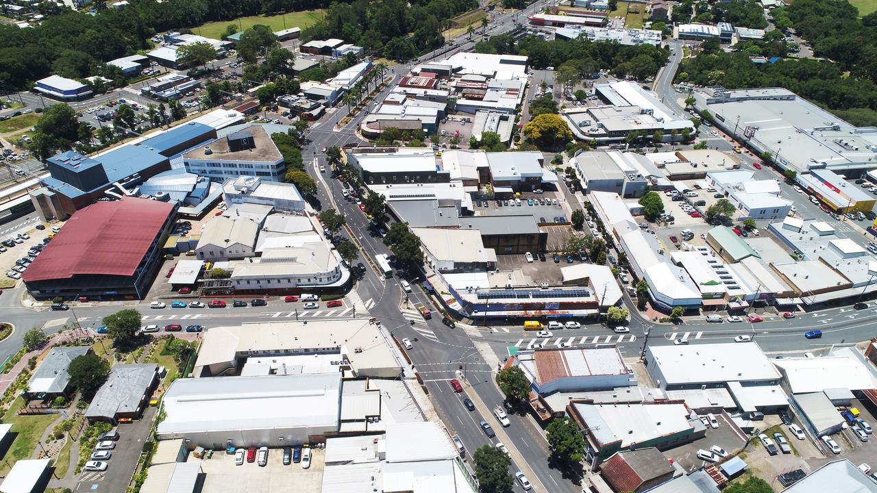 Aerial photo of Currie Street, Mill Lane and C-Square, Nambour.