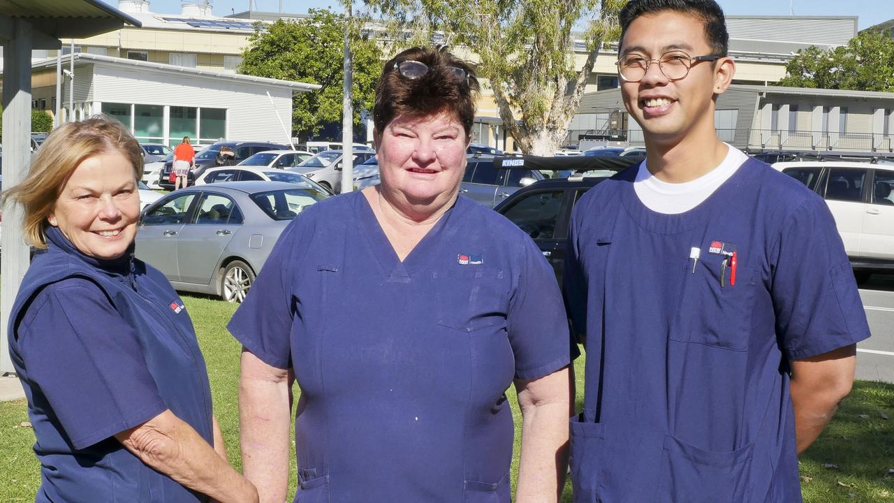 NSW Nurses and Midwives Association Tweed Hospital branch's Pam Barrett, Pauline Macdonald and James Bugtay outside the Tweed Hospital in Tweed Heads. Photo: Jessica Lamb