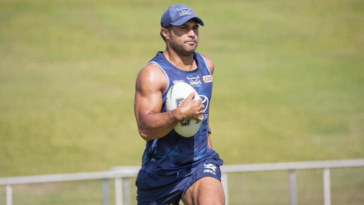 Cowboys centre Justin O'Neill at training ahead of their clash with the Newcastle Knights.