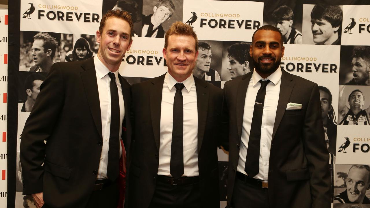 Nick Maxwell, Nathan Buckley and Heritier Lumumba in 2014. Picture: Julie Kiriacoudis