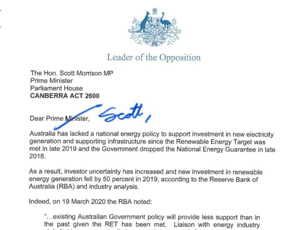Portion of the first page of the letter sent from Anthony Albanese to PM Scott Morrison.
