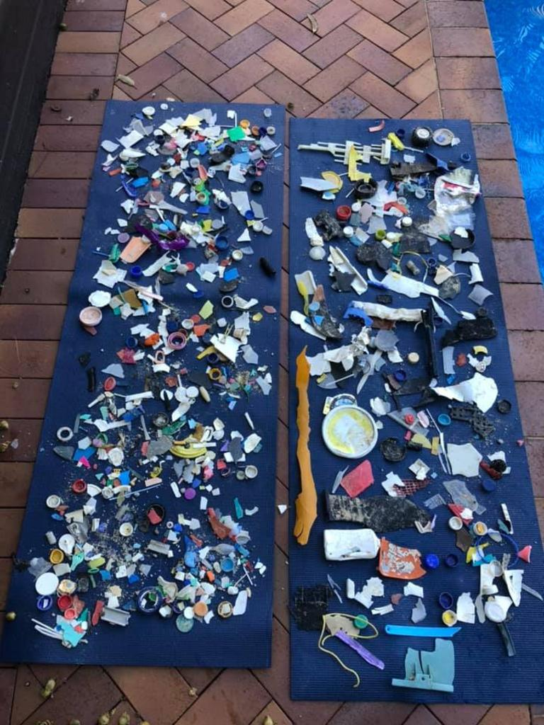 CONCERNING: Natalie's haul after 45 minutes of picking up rubbish at Double Island point.