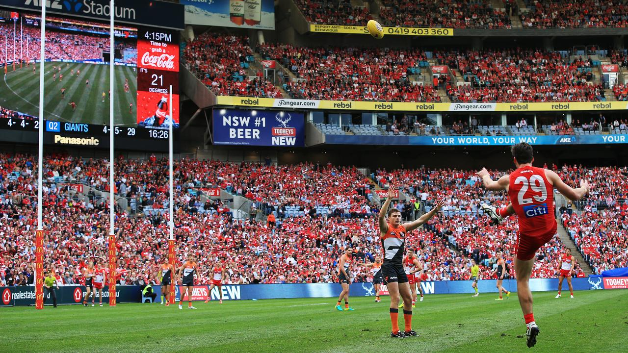 The Swans and Giants derby at a packed ANZ Stadium. Picture: Toby Zerna