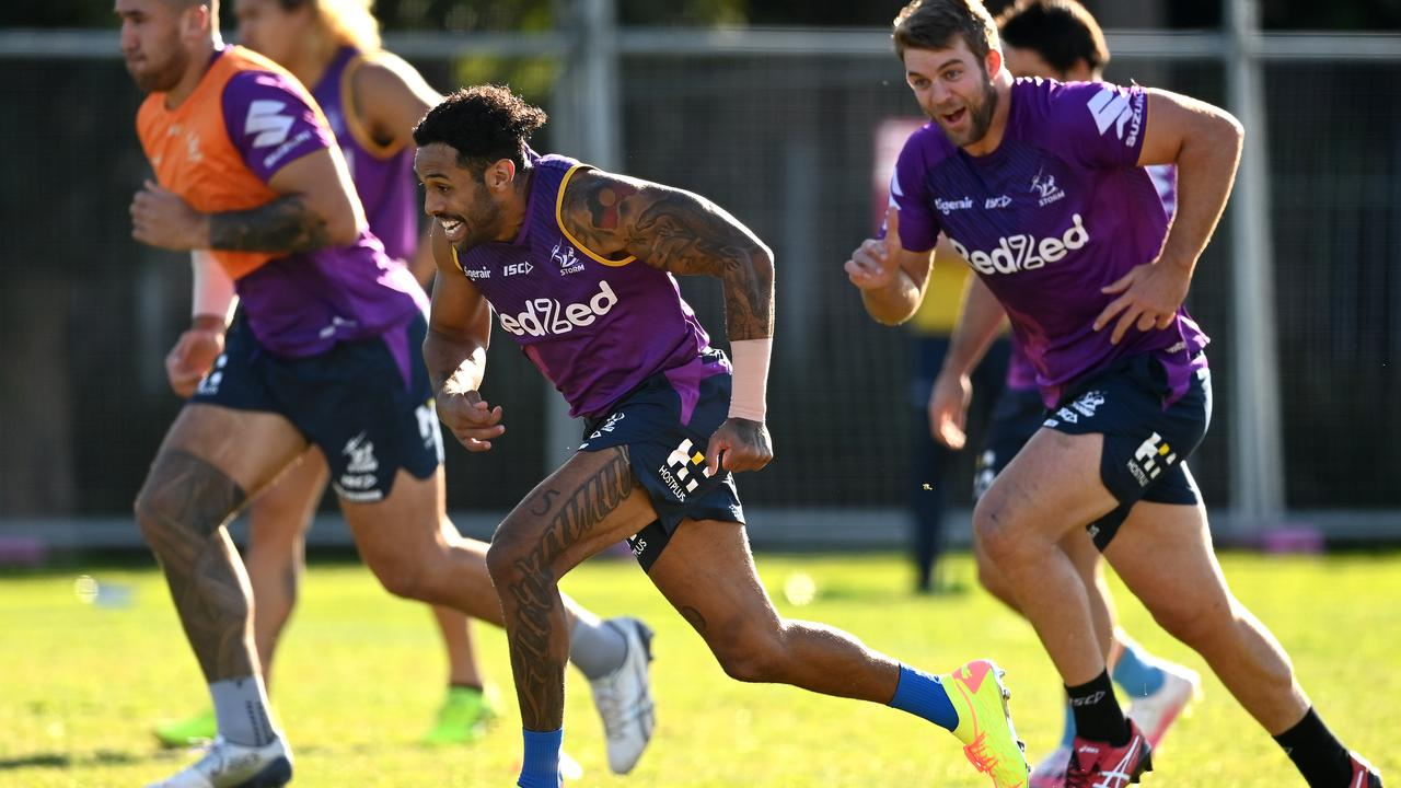 Josh Addo-Carr of the Storm warms up during a Melbourne Storm NRL training session at Gosch's Paddock on June 23, 2020 in Melbourne, Australia. (Photo by Quinn Rooney/Getty Images)