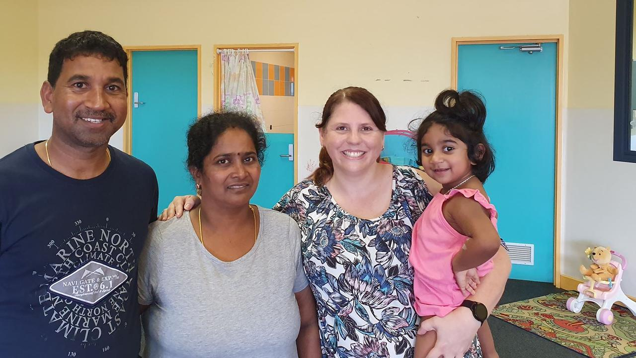 Angela Fredericks, pictured with Nades, Priya and Tharunicaa, 2, during a visit to the Christmas Island detention centre.