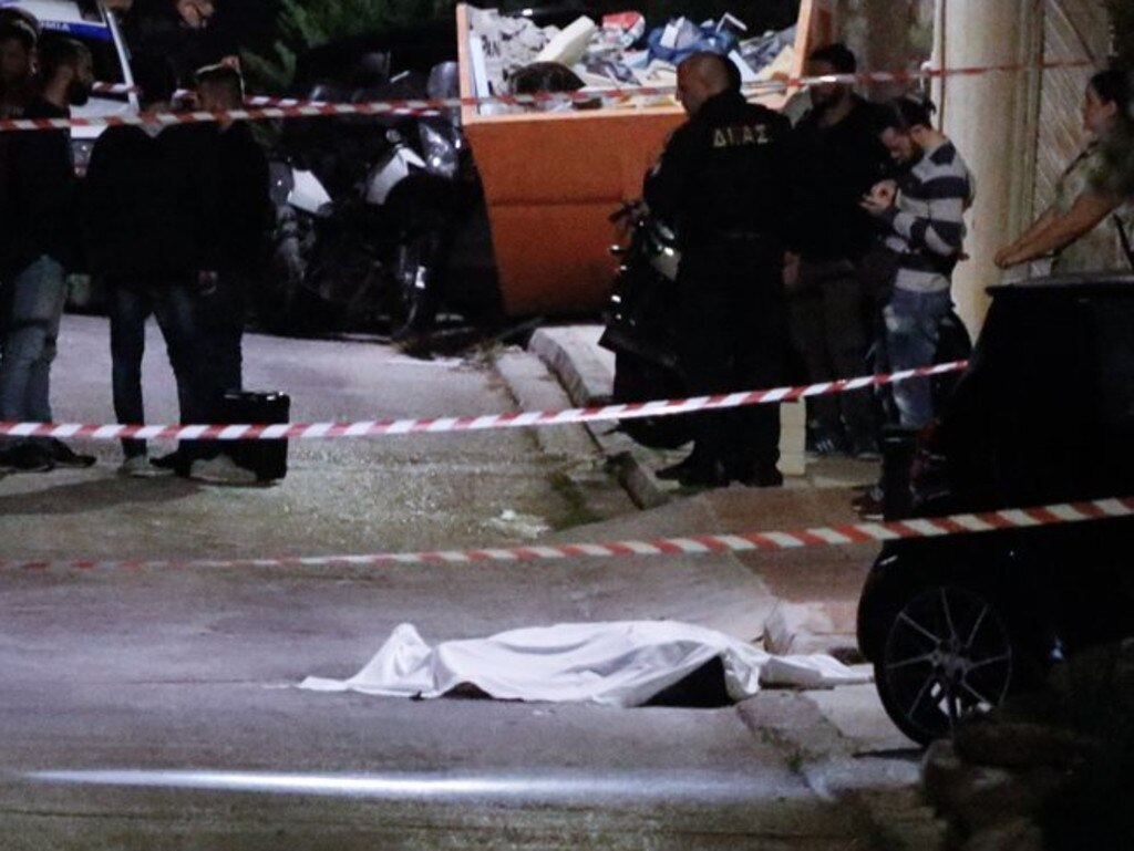 Macris was gunned down in the chest in a seaside suburb of Athens. Picture: Proto Thema