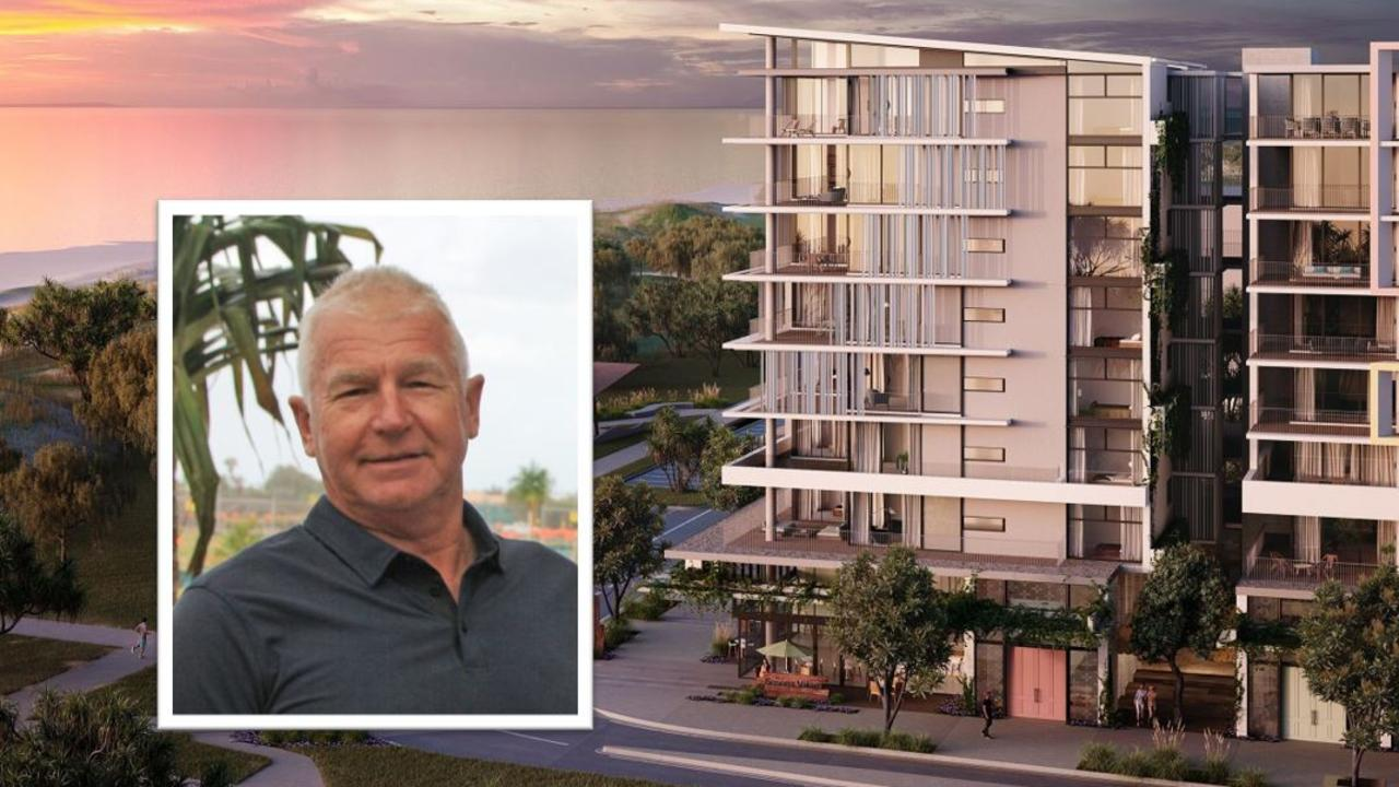 COLLAPSED: RGD Group director Ron Grabbe, and what was to be one of the group's major projects at Bokarina Beach.